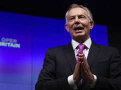 Former British Prime Minister Tony Blair delivers a keynote speech at a pro-Europe event in London
